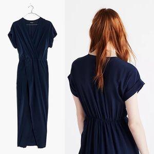 Madewell | NWT Silk Wrap Front Maxi Dress Navy M